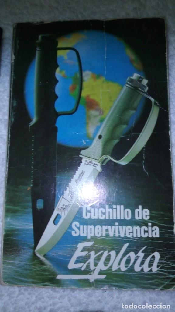 Militaria: LOTE 2 CUCHILLOS: MARTO EXPLORA SURVIVAL LANZA BENGALAS BREWER ORIGINAL + COVER UP DE LA CASA NIETO - Foto 9 - 136423922