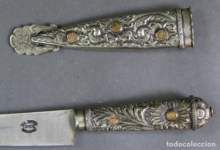 Militaria: Daga facon argentino en hierro y metal blanco con funda Alimer Tandil Argentina siglo XX - Foto 3 - 139975330