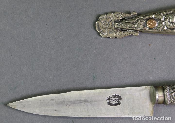 Militaria: Daga facon argentino en hierro y metal blanco con funda Alimer Tandil Argentina siglo XX - Foto 4 - 139975330