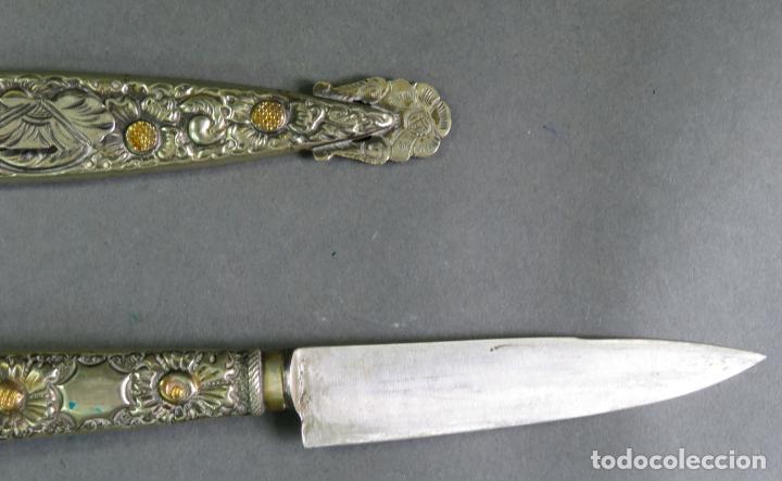 Militaria: Daga facon argentino en hierro y metal blanco con funda Alimer Tandil Argentina siglo XX - Foto 7 - 139975330