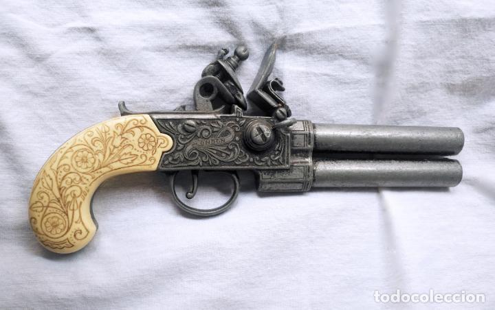 PISTOLA AVANCARGA TRABUCO CACHAS BLANCAS - DECORATIVA DEL SIGLO XVIII - LONDON - 21,5 CM (Militar - Armas Blancas, Reproducciones y Piezas Decorativas)