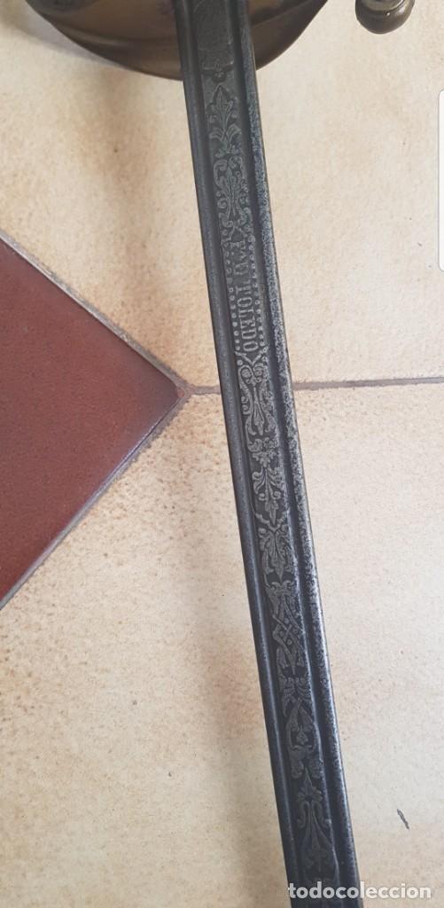 Militaria: Espada antigua FCA. DE TOLEDO fechada 1870 hoja muy detallada buen estado ALTA COLECION - Foto 3 - 142611176