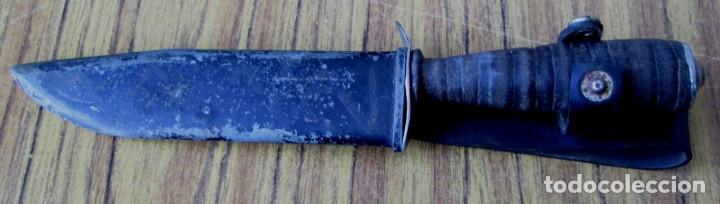 Militaria: Cuchillo de caza hoja doble filo Mango redondelas de cuero (con años) La funda no es suya - Foto 3 - 144275802