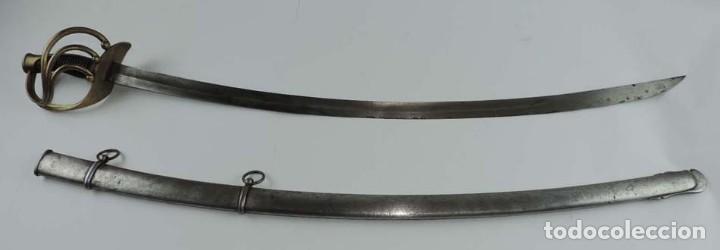 SABLE PARA TROPA DE CABALLERÍA LIGERA, ESPAÑA, HACIA 1860, GUARNICIÓN EN LATÓN FORMADA POR GUARDAMAN (Militar - Armas Blancas Originales Fabricadas entre 1851 y 1945)