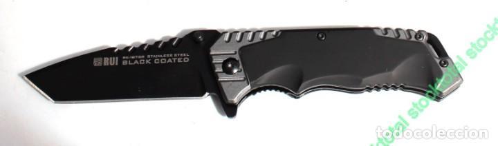Militaria: navaja negra K25. hoja:8.5 cm Derechos de autor Diseñado en España Mango: Aluminio - Recubier 19765 - Foto 3 - 158212230