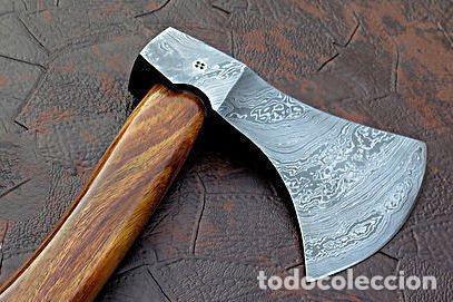 Militaria: hacha en acero de damasco artesanal. 49 cm largo - Foto 2 - 163529586