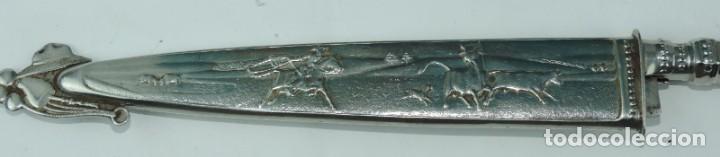 Militaria: Cuchillo tipo Facón argentino de alpaca. Mide 32 pag. con su vaina puesta, no tiene marca de fabrica - Foto 7 - 165457530