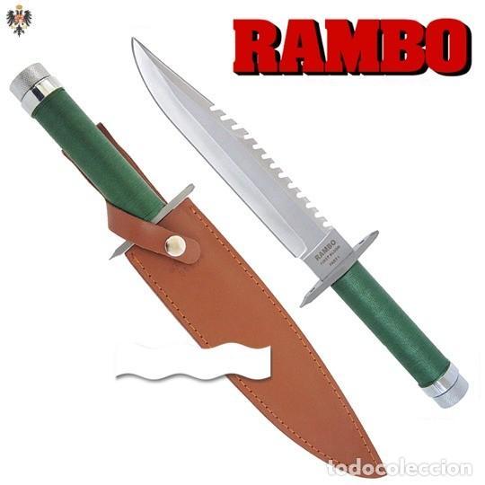 CUCHILLO RAMBO ACORRALADO SYLVESTER STALLONE + FUNDA + KIT + BRUJULA. 39 CMS (Militar - Armas Blancas, Reproducciones y Piezas Decorativas)