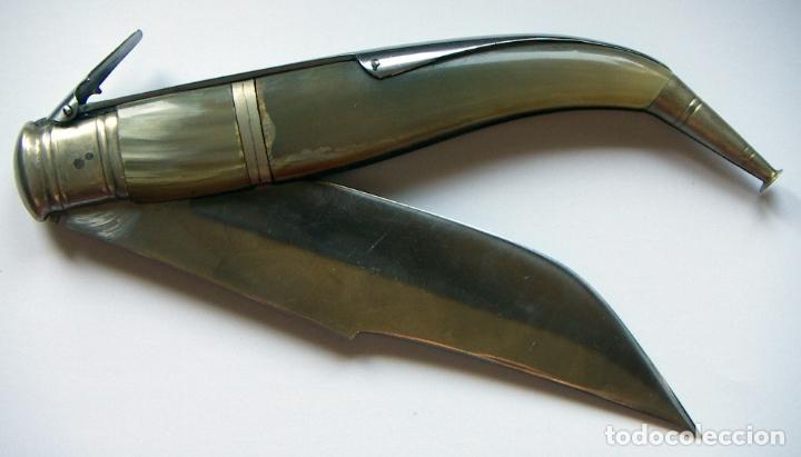VIEJA NAVAJA DE ALBACETE EXPOSITO ASTA DE TORO 43 CM ABIERTA Y 24,5 CM CERRADA (Militar - Armas Blancas Originales Fabricadas entre 1851 y 1945)