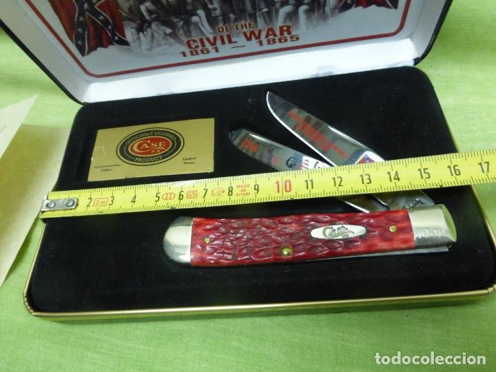 Militaria: Case FGRPB Famous Confederate Generals Folding Knife with Red Pick Bone Handle - NAVAJA CONFEDERADA- - Foto 3 - 175702225