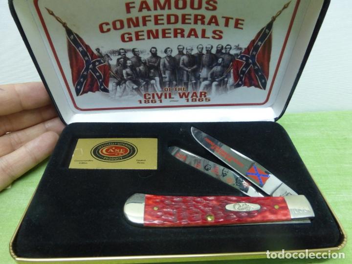 Militaria: Case FGRPB Famous Confederate Generals Folding Knife with Red Pick Bone Handle - NAVAJA CONFEDERADA- - Foto 7 - 175702225