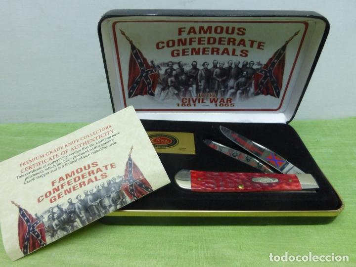 CASE FGRPB FAMOUS CONFEDERATE GENERALS FOLDING KNIFE WITH RED PICK BONE HANDLE - NAVAJA CONFEDERADA- (Militar - Armas Blancas, Reproducciones y Piezas Decorativas)