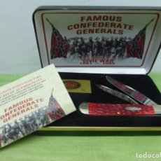 Militaria: CASE FGRPB FAMOUS CONFEDERATE GENERALS FOLDING KNIFE WITH RED PICK BONE HANDLE - NAVAJA CONFEDERADA. Lote 175702225