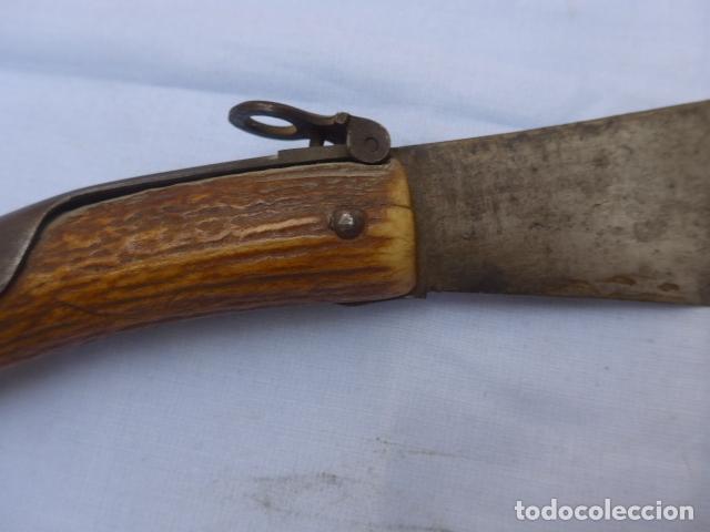 Militaria: * Antigua gran navaja española de cuerno, mide 36 cm abierta, original siglo XIX. ZX - Foto 22 - 179154946