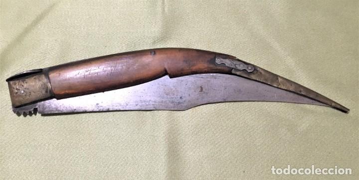 NAVAJA DE GRANDES DIMENSIONES SXIX ANDALUZA O CASTELLANA 63CM ABIERTA (Militar - Armas Blancas Originales Fabricadas entre 1851 y 1945)