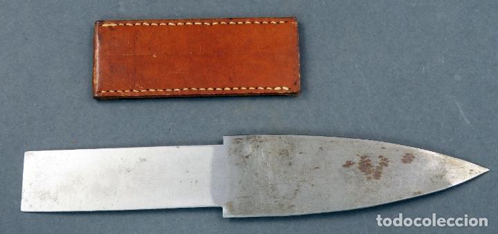 Militaria: Cuchillo caza con funda cuero acero marcado - Foto 4 - 183293512