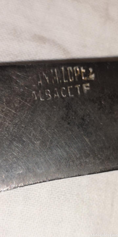 Militaria: Antigua navaja creo que es de podar cachas de asta firmada por López, 19,5 cm largo, cerrada 11 cm - Foto 2 - 188597508