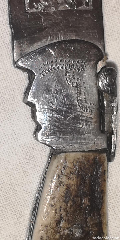 Militaria: Antigua navaja albaceteña en forma de bota y con rostro con un personaje con boina - Foto 5 - 188622467