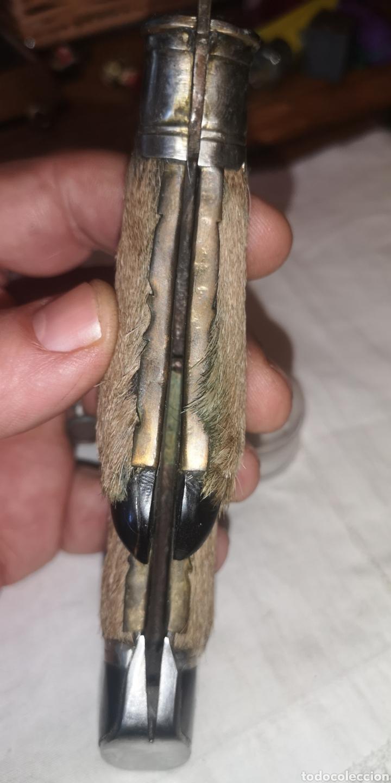 Militaria: Antigua navaja albaceteña firmada Zafrilla de pata de ciervo hoja damasquinada en oro - Foto 8 - 188711958