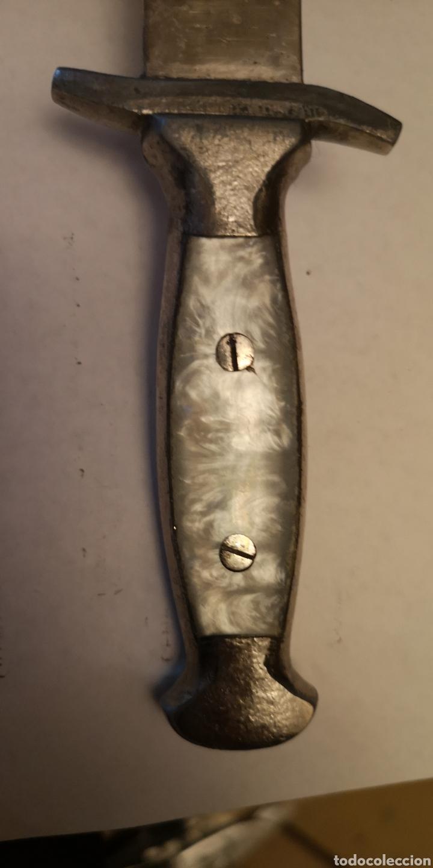 Militaria: Antigua hacha - cuchillo grabada albaceteña, grabados cinegéticos - Foto 6 - 190151333