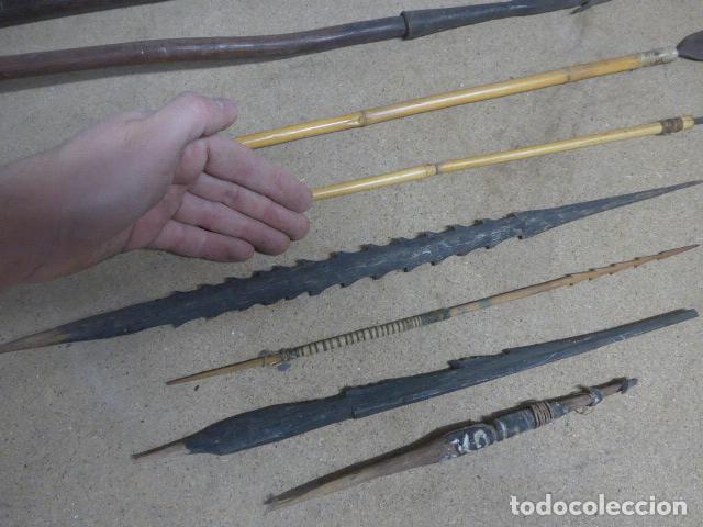 Militaria: Antiguo lote de 11 lanza etnica originales, de africa y amazonas. Originales. - Foto 4 - 190476765