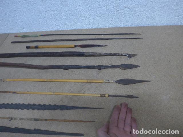 Militaria: Antiguo lote de 11 lanza etnica originales, de africa y amazonas. Originales. - Foto 12 - 190476765