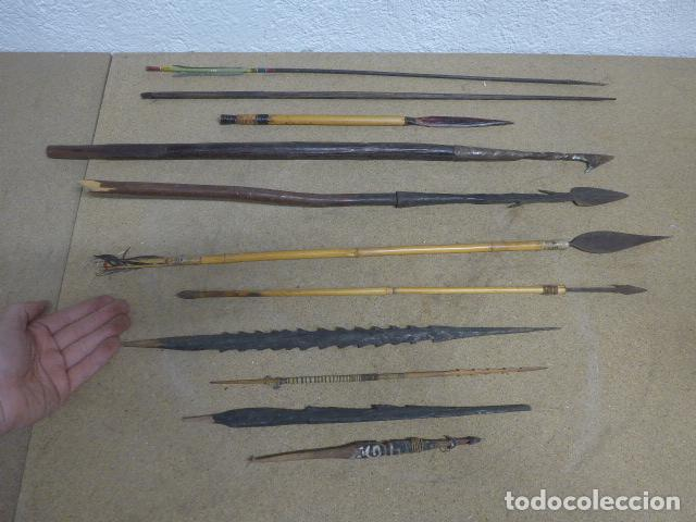 ANTIGUO LOTE DE 11 LANZA ETNICA ORIGINALES, DE AFRICA Y AMAZONAS. ORIGINALES. (Militar - Armas Blancas Originales Fabricadas entre 1851 y 1945)