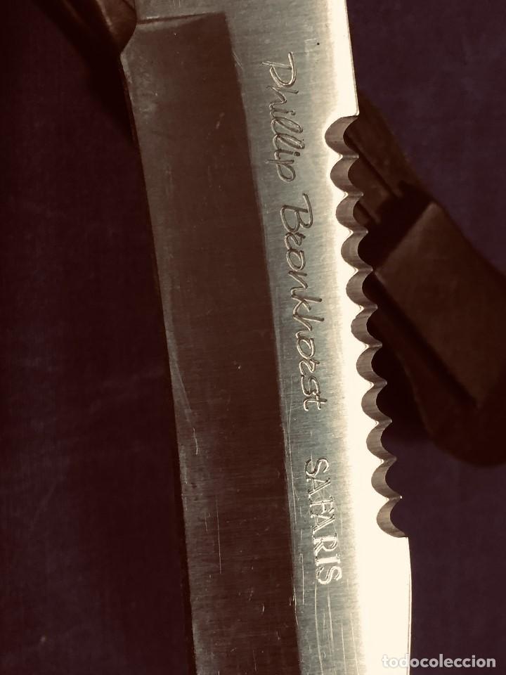 Militaria: puñal muela phillip bronkhorst SAFARIS FUNDA PLASTICO NEGRO TIPO SUBMARINISMO MUY POCO USO 30X5CMS - Foto 3 - 191134125