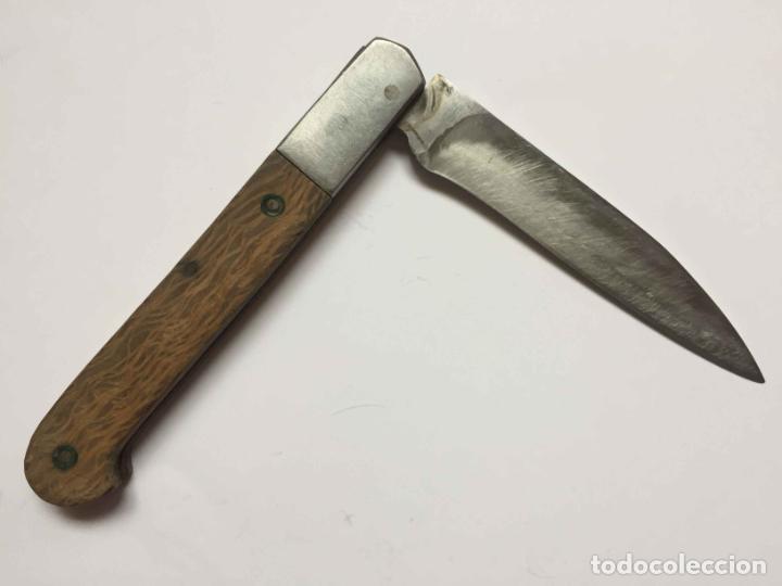 Militaria: Antigua NAVAJA. Mango madera (c. 1950) Original. Coleccionista. - Foto 3 - 193402883