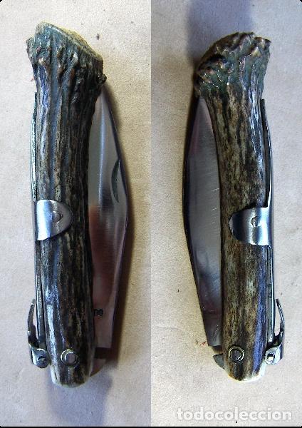 NAVAJA DEL ARTESANO RAFAEL BUSTOS CON MANGO DE PUNTA DE VARETO (Militar - Armas Blancas Originales Fabricadas entre 1851 y 1945)