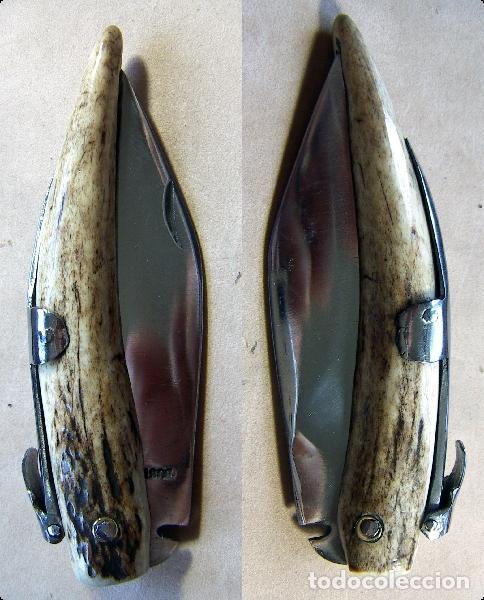 NAVAJA DEL ARTESANO RAFAEL BUSTOS CON MANGO DE PUNTA DE CIERVO (Militar - Armas Blancas Originales Fabricadas entre 1851 y 1945)