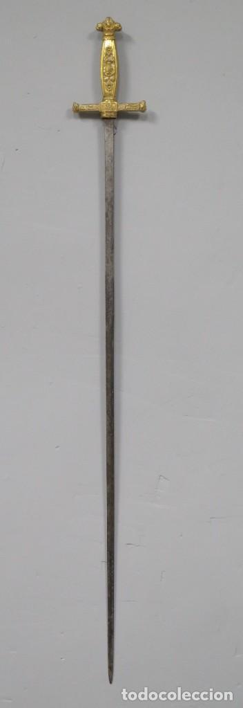 ESPADIN DE CEÑIR DE GALA. ISABEL II. HOJA ORNAMENTADA. FECHADA 1848 (Militar - Armas Blancas Originales de Fabricación Anterior a 1850)