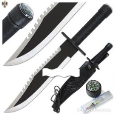 Militaria: CUCHILLO SUPERVIVENCIA + FUNDA + KIT. 35 CMS. Lote 111158335