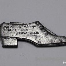 Militaria: ANTIGUA NAVAJA FORMA ZAPATO PUBLICIDAD CALZADOS MARIN BARCELONA, BILBAO Y PALMA, MED. CERRADA 7 CM.. Lote 223795536