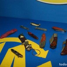 Militaria: LOTE DE 10 NAVAJAS VARIADAS + CUCHILLO DE REGALO-COLECCIONISMO-OBSERVA LAS FOTOS. Lote 229273165