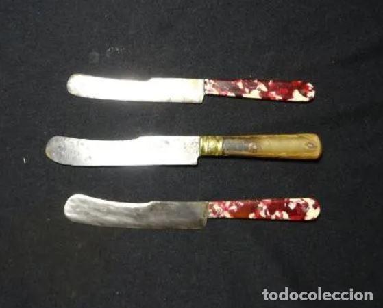 TRES CUCHILLOS DE ALBACETE ACERO AL CARBONO, AÑOS 1940-60 (Militar - Armas Blancas Originales de Fabricación Posterior a 1945)