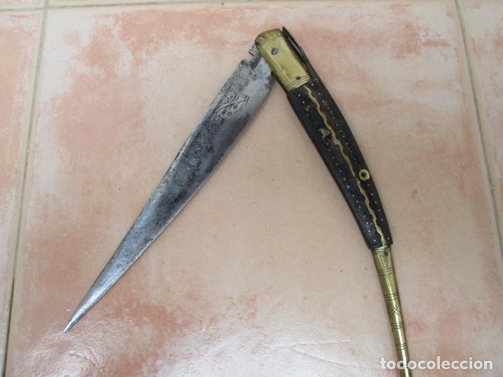 ANTIGUA NAVAJA BANDOLERA O FAJÍN, ALBACETE, ESPAÑA, S. XIX (Militar - Armas Blancas Originales de Fabricación Anterior a 1850)