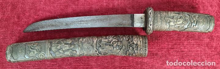 WAKIZASHI JAPONÉS. HOJA DE ACERO. PUÑO Y VAINA EN METAL CINCELADO. SIGLO XIX-XX (Militar - Armas Blancas Originales Fabricadas entre 1851 y 1945)