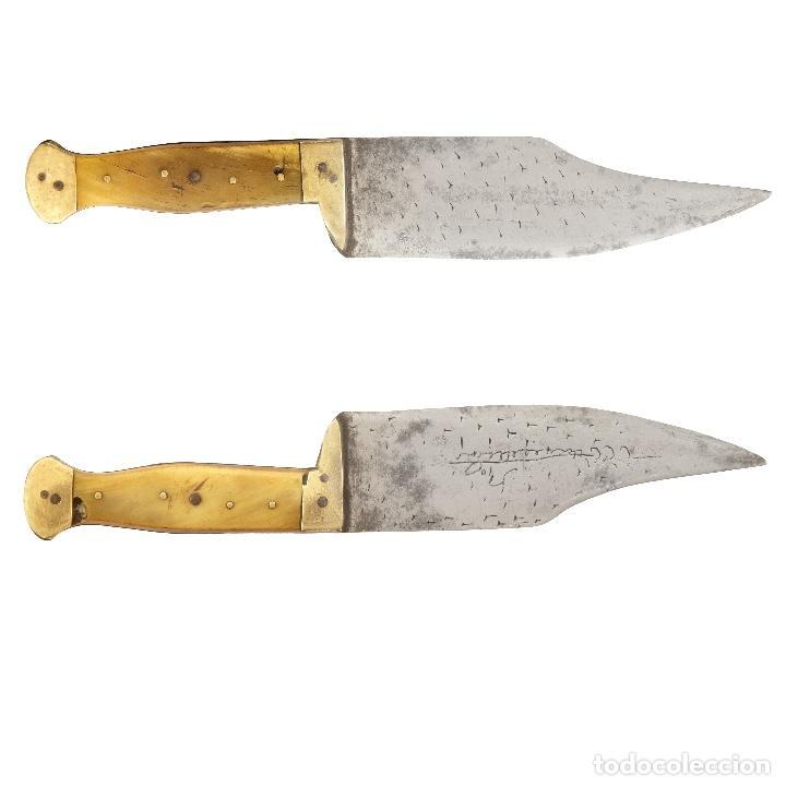 BONITO Y CONSERVADO CUCHILLO DE FAJA CATALÁN. S. XIX. ASTA Y LATÓN. 41,5 CM. (Militar - Armas Blancas Originales Fabricadas entre 1851 y 1945)