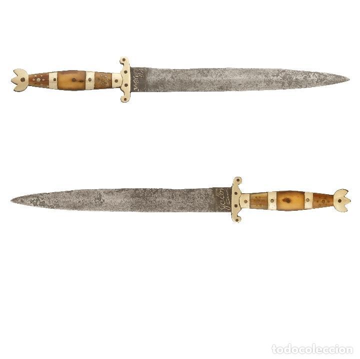 ORIGINAL CUCHILLO SASTAGUINO. S XIX. ASTA Y LATÓN. EL VENGADOR. TAMAÑO 36,5 CM. (Militar - Armas Blancas Originales Fabricadas entre 1851 y 1945)