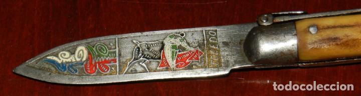 Militaria: Antigua navaja realizado en TOLEDO, tema taurino, años 40 - 50. mide 15,5 cms. abierta. - Foto 2 - 287219013