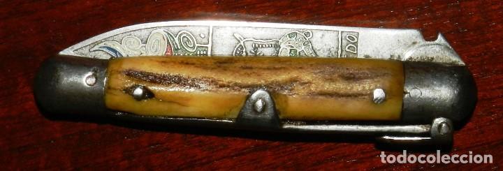 Militaria: Antigua navaja realizado en TOLEDO, tema taurino, años 40 - 50. mide 15,5 cms. abierta. - Foto 6 - 287219013