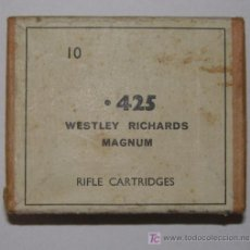 Militaria: CAJA VACIA DE BALAS DEL CALIBRE 425 WESTLEY RICHARDS MAGNUM.. Lote 4611359