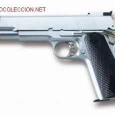 Militaria: PISTOLA AIR SOFT ACCION GAS BOLAS CALIBRE 6 MM.COLT 1911 GOLD UP CROMO ¡¡OFERTA!!. Lote 19415561