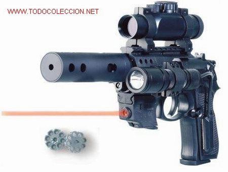 PISTOLA BERETTA MOD.92 FS CO2 CALIBRE 4,5+VISOR PUNTO HOLOGRAFICO+LASER+LINTERNA ¡¡¡OFERTA!!! (Militar - Réplicas de Armas de Fuego y CO2 )