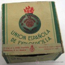 Militaria: CAJA CARTÓN UNIÓN ESPAÑOLA EXPLOSIVOS SA VACÍA 25 CARTUCHOS DE CAZA. Lote 11822479