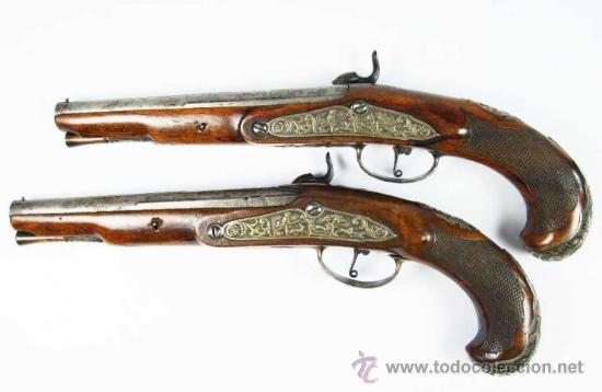 Militaria: Pareja de Pistolas francesas de avancarga con llaves de Percusión, guarniciones de plata, Siglo XIX - Foto 2 - 26594841