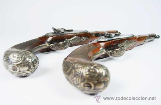 Militaria: Pareja de Pistolas francesas de avancarga con llaves de Percusión, guarniciones de plata, Siglo XIX - Foto 3 - 26594841