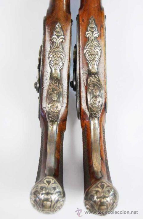 Militaria: Pareja de Pistolas francesas de avancarga con llaves de Percusión, guarniciones de plata, Siglo XIX - Foto 7 - 26594841