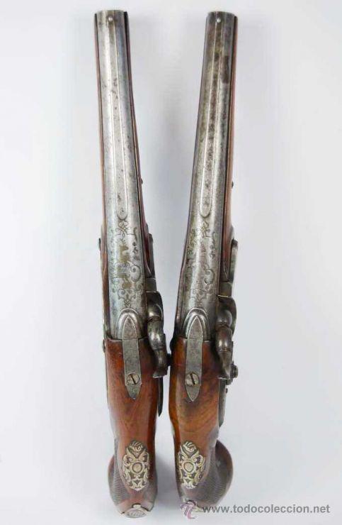 Militaria: Pareja de Pistolas francesas de avancarga con llaves de Percusión, guarniciones de plata, Siglo XIX - Foto 10 - 26594841